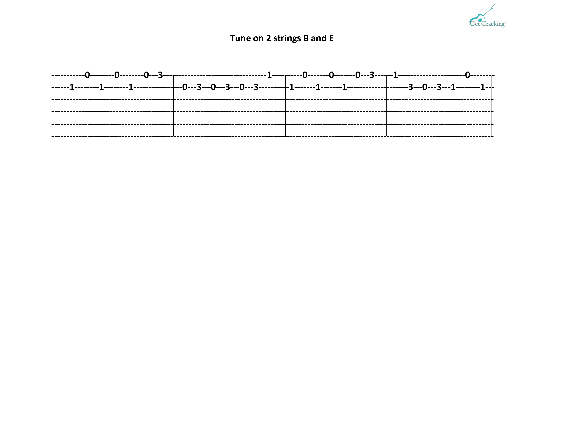 b tabs tune on 2 strings b and e