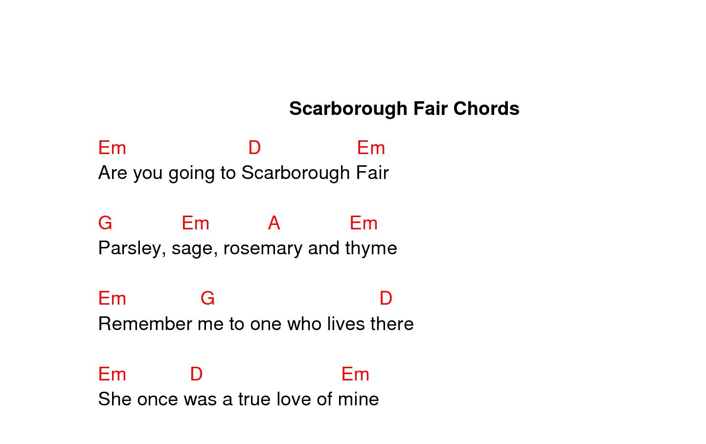 crop scarborough fair chords