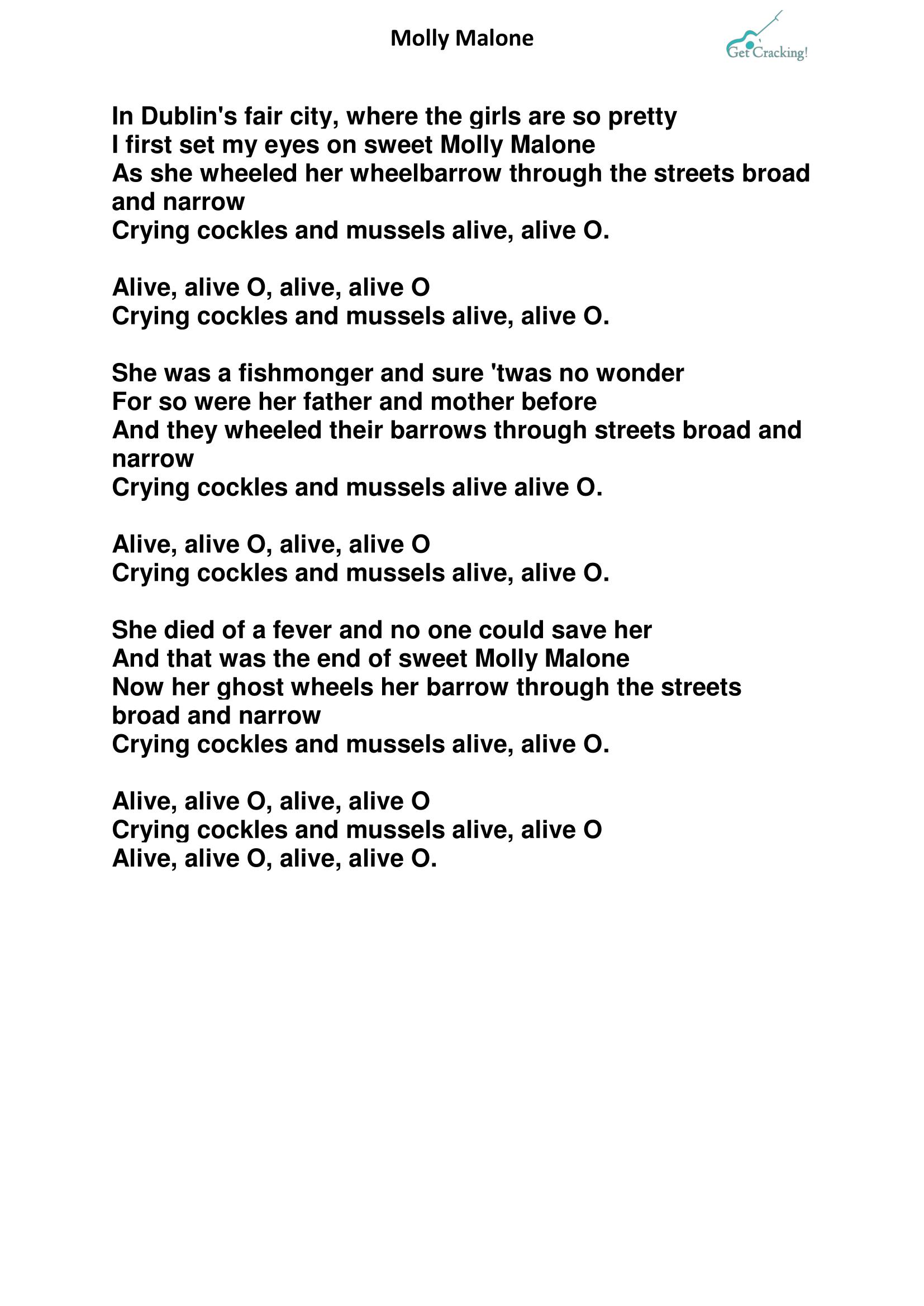 Molly Malone lyrics-1